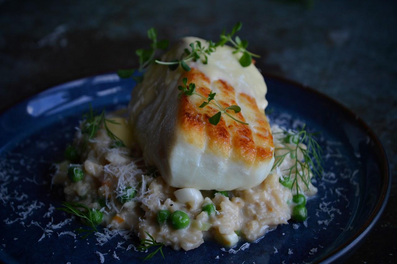 Kveite med risotto og smørsaus