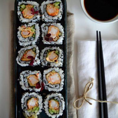 Spicy tempura scampi maki